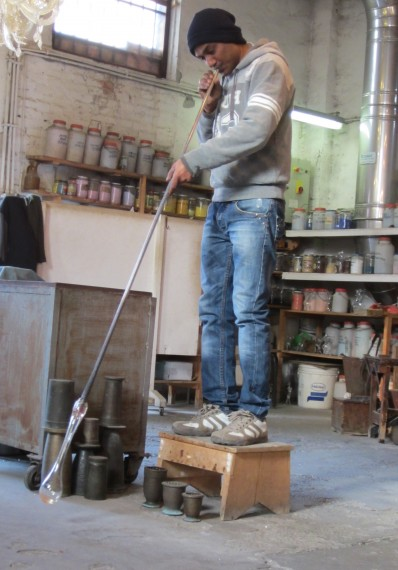 A glass blowing demonstration in Murano.