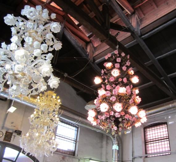 Glass chandeliers in Murano.