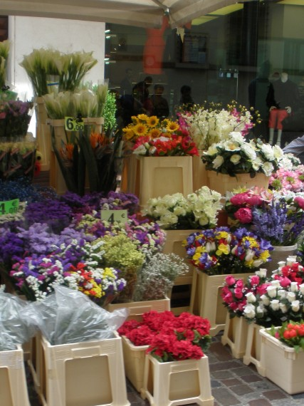Flowers for sale at the Bassano open air market