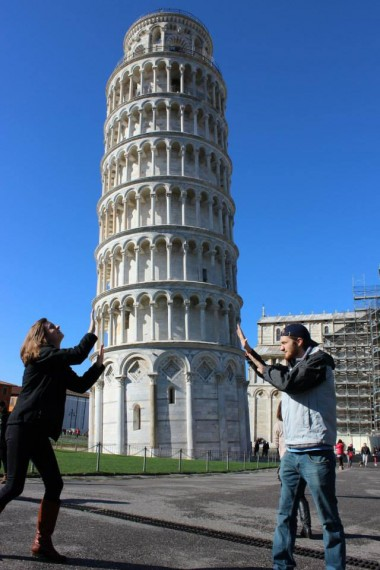 Typical tourist pic in Pisa on our way to the coast