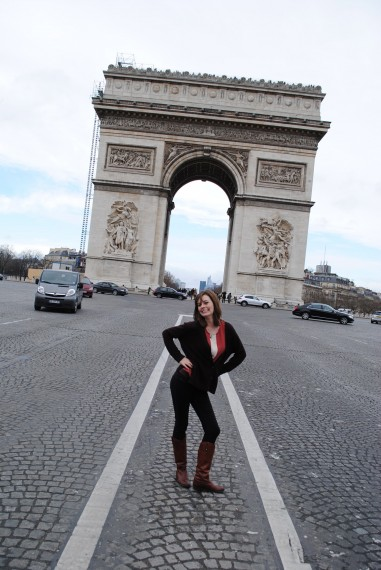 Trying not to get hit by cars by the Arc de Triomphe