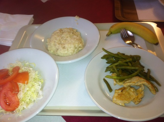 A typical meal from the cafeteria