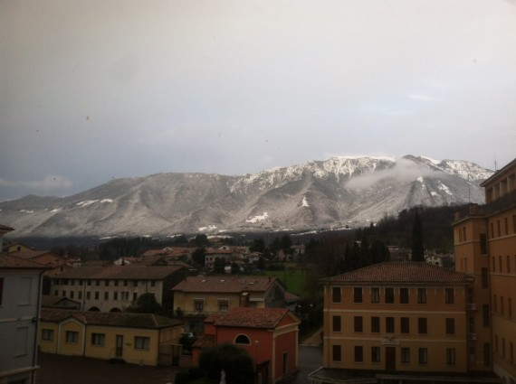 A beautiful campus view of Mt. Grappa!
