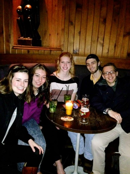 Drinking Belgian beer on our pub crawl!