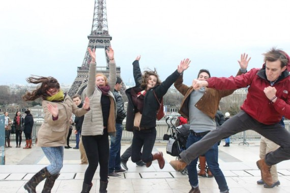 Graceful cliche jumping picture