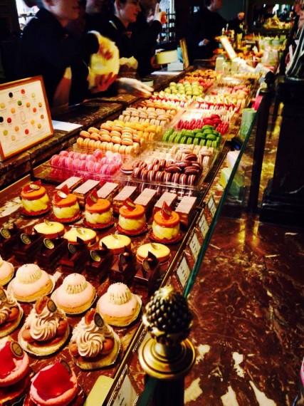 Laduree display of macaroons and french pastries
