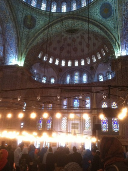 Interior of the beautiful Blue Mosque!