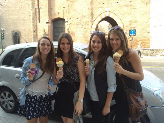 The ladies enjoying some gelato!