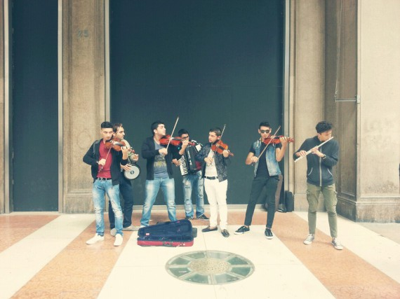 The boys played modern music with classic instrument