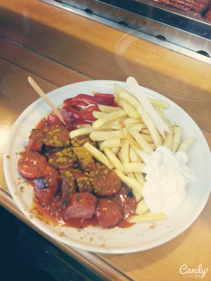 Germen Sausage, fries, and curry spices