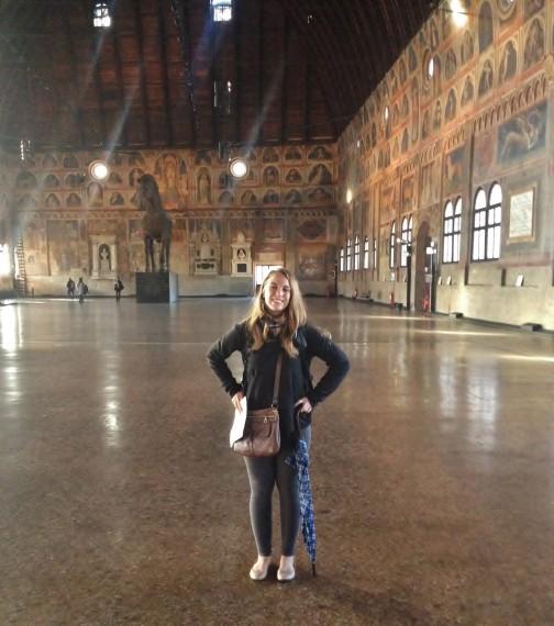 Inside the Palazzo della Ragione admiring all the frescoes