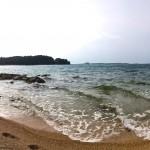 Pebble beach in Rovinj, Croatia
