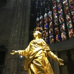 Inside the Duomo in Milan. This is the copy of the Madonna which is now located inside where visitors can see her.