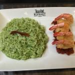 Basil Risotto and tempura shrimp!