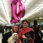 My family met me with balloons, my dog and a surprise new puppy!