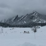 """The flatirons or """"flatties"""" snow dusted on a foggy day. I sure am going to miss this view."""