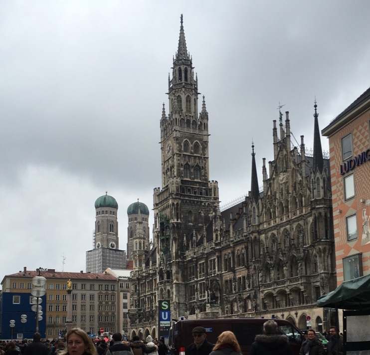 The crowded and scenic Marienplatz, or Mary's Square, in Munich