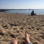Laying out on the beach in Barcelona, Spain!