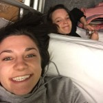 My friend Michelle and I getting ready for bed on our overnight train from Prague to Budapest!